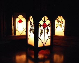Handmade Lamp with Stained Glass Panels