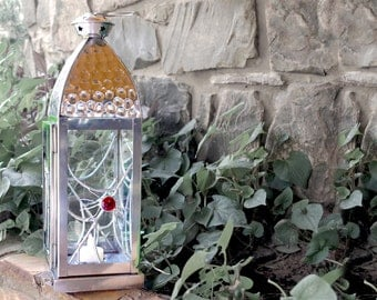 Tall Silver Metal Candle Lantern with Stained Glass Panels - Halloween