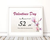 Valentine's Day Gift, Personalized Gift, Set of 4 prints, Personalized Valentines Day, For Her
