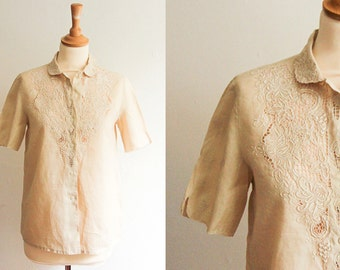 Vintage Cream Chinese Linen Embroidered Shirt