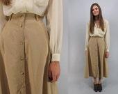 Vintage 80s Khaki Skirt, Full Midi Skirt, High-Waist Skirt, Minimalist Skirt, 80s Skirt Δ size: md / lg