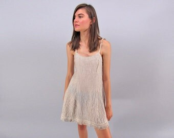 Vintage Linen Dress, Boho Fringe Dress, Minimalist 90s Dress, Sun Dress, Tank Dress Δ size: xs / sm