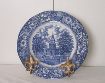 Liberty Blue - Dinner Plate Made in England By Staffordshire Blue & White Ironstone - Independence Hall