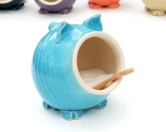 Turquoise Blue Ceramic Salt Pig for your countertop - traditional salt pig - great gift for a cook or foodie!