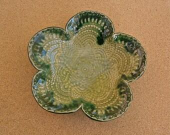 Apple green bowl, Tapas dish, Trinket bowl with lace pattern -  handbuilt stoneware