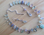 Colors of Fluorite Necklace and Earring Set Natural Stone Jewelry Pastel Aqua Blue Purple Green