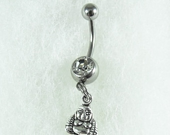 Belly Button Ring, Silver Tiny Buddha Charm Womens Gift  Handmade