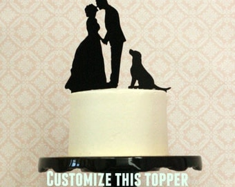 Your Dogs + Pets on a Wedding Cake Topper - Custom Silhouette Cake topper