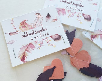 50 Feather Seed paper wedding favors - plantable seed paper favor for weddings, baby showers, anniversaries and more