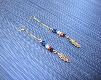 Chakra balancing and charging healing earrings with gold plate and brass feather charms