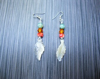 Agate feather,coral and glass bead earrings