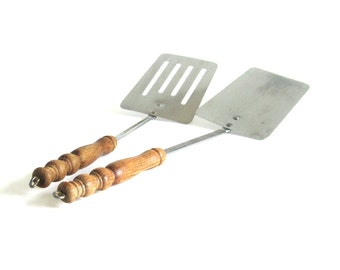 Wood Handle Spatulas Stainless Steel Turned Wood, Textured Metal Solid or Slotted Metal Spatula, Unmarked