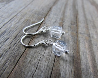 Small Earrings, gemstone squares, faceted, 3D, crystal quartz cubes, simple dangle earrings
