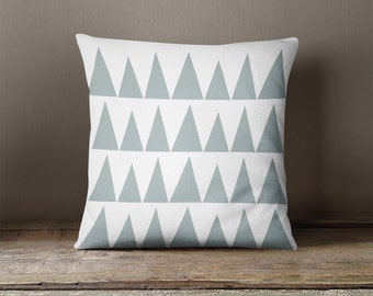 Grey geometric throw pillow with triangles, gray decorative pillows, geometric pillow cover, kids throw pillow, cushion cover, kids bedding