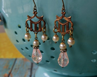 Upcycled earrings, repurposed, retro, shabby chic, wedding jewelry, one of a kind earrings