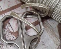 "1/8"" Antique  Vintage French Silver Metal Soutache Braid Trim thread cord doll  reenactment"