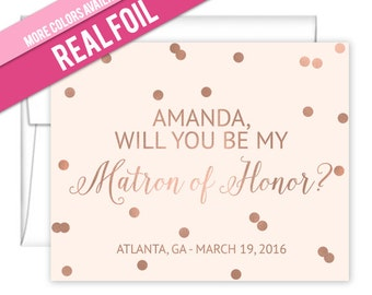 Will You Be My Bridesmaid Cards Foil Confetti Design - Matron of Honor Cards - How to ask bridesmaids - Will You Be My Maid of Honor