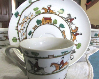 Snack Sets - Hunt Scene - Equestrian Scene - Hunt Scene Pattern - Tea set - Hunting Scene