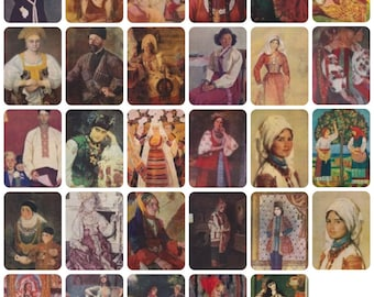 Portraits in National Costumes. Collection / Set of 29 Vintage Prints, Postcards -- 1950s-1980s