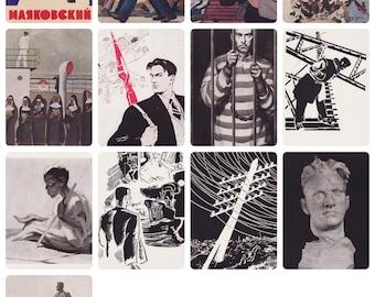 Rare! Mayakovsky. Complete Set of 12 Vintage Postcards in original cover -- 1963
