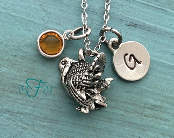 Turkey Charm Necklace, Personalized Necklace, Silver Pewter Turkey Charm, Custom Necklace, Swarovski Crystal birthstone, monogram