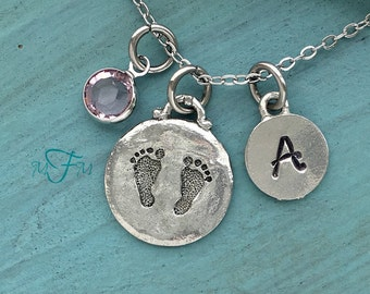 Baby Feet Charm Necklace, Personalized Necklace, Silver Pewter Baby Feet Charm, Custom Necklace, Swarovski Crystal birthstone, monogram