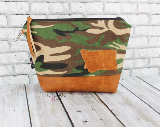 AVA Clutch -Large - Camo with PU Leather Cosmetic   READy to SHIP Travel Make Up Zipper Pouch