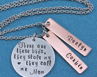 Hand Stamped Jewelry - Personalized Necklace - Mom Necklace - Personalized Jewelry - Family Necklace