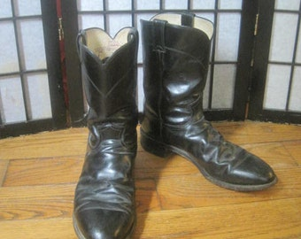 Vintage Justin Boots Smooth Cowboy Boots Black Leather 13 D Mens Boot Western West Style American Made in the USA