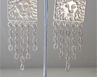 SaLE Anne Klein Silver Lion Clip Earrings LARGE DANGLE Chandelier Statement Earrings Chain Fringe Drop Clip on Earrings Silver- FReE US ShiP