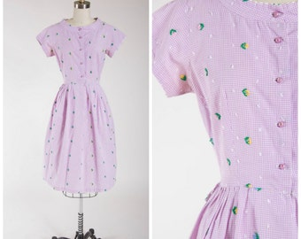 Vintage 1950s Dress • Peppered with Joy • Purple Gingham Embroidered Cotton 50s Shirtwaist Dress Size Small