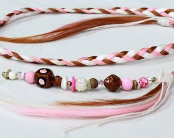 Boho braided hair Headband, beaded hair extensions, fun hair piece, pink blond auburn hair, free spirit, 70's style festival hair, hippie