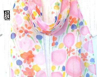 Silk Scarf Hand painted, Pink, Orange, Blue Floral Silk Scarf, Summer Scarf, Bubble Gum Wildflowers, Silk Chiffon Scarf, Takuyo, 8x54 inches