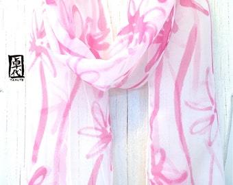 Silk Scarf Handpainted, Gift for her, Gift under 50, Pink and White Scarf, Wildflowers Scarf, Silk Scarves Takuyo, Spring Scarf, 8x54 in.