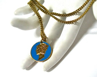 Authentic Mercury Dime Necklace, Coin Necklace, Real Coin, Gold Plated, Blue Enamel, Long Chain, Gift Idea, Excellent
