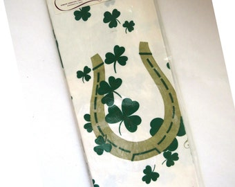 St Patricks Day Paper Tablecloth by Gibson Shamrocks Horseshoe Luck of the Irish New Unused In Original Package Party Supplies Crafts