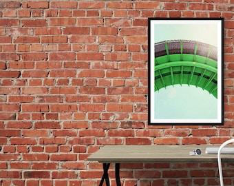 santa cruz photography // industrial art print // vivid green bright art // modern photography art - Flume, large print