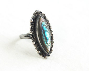 Mexican Abalone Ring Size 6 Sterling Silver Vintage Marquise Ocean Cameo Victorian Style