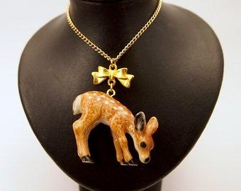 Little Deer Porcelain Charm necklace mori forest girl