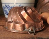 "Copper bundt pan, 5.5"" antique copper bundt cake pan"