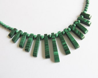 Malachite Vintage Necklace , Malachite Bib Necklace, Choker, Green Stone