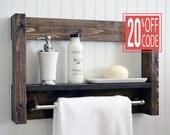 Bathroom Shelf With Towel Bar - Metal Hooks - Modern Rustic Decor - Wall Hanging - Cottage - Bath Decor - Industrial - Reclaimed - Salvaged