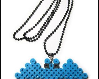 Blue Kawaii Bat Perler Bead Pixel Art Necklace