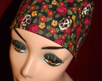 Small Skulls and Roses Cap (biker/chemo/surgical)