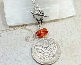 Coin necklace - Vintage New Zealand MAORI mask COIN NECKLACE - mask necklace - amber necklace -butterfly necklace - medallion - Coin jewelry