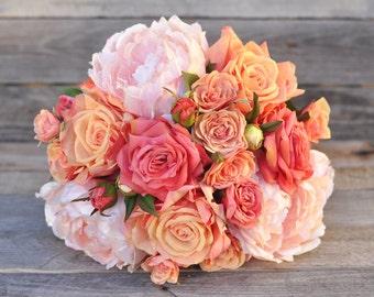 Coral Rose Bride Bouquet, Coral Rose Bouquet, Faux Flowers, Silk Flowers, Wedding Flowers, Destination Wedding, Bridal Bouquet