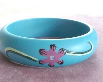 Bangle Bracelet Lucite Flowers Rhinestones Retro Jewelry Vintage