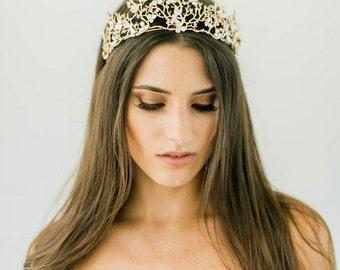 Bohemian Crown Bridal Headpiece, Bridal Headband, Gold Wedding Head Piece, Boho headpiece, Forest Princess Bridal Crown, Boho Tiara