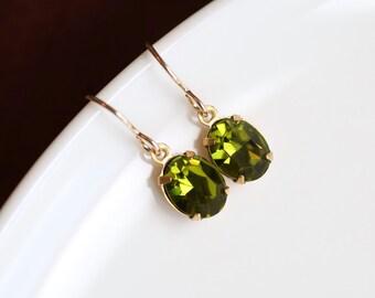 Green Earrings, Gold Bridesmaid Earrings, Vintage Green Crystal Earrings Olivine Earrings Dark Green Bridal Jewelry Swarovski Earrings