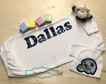 Dallas cowboys personalized baby romper and hat set cowboys personalized baby boy gown and hat set dallas cowboys baby newborn gown baby negle Gallery